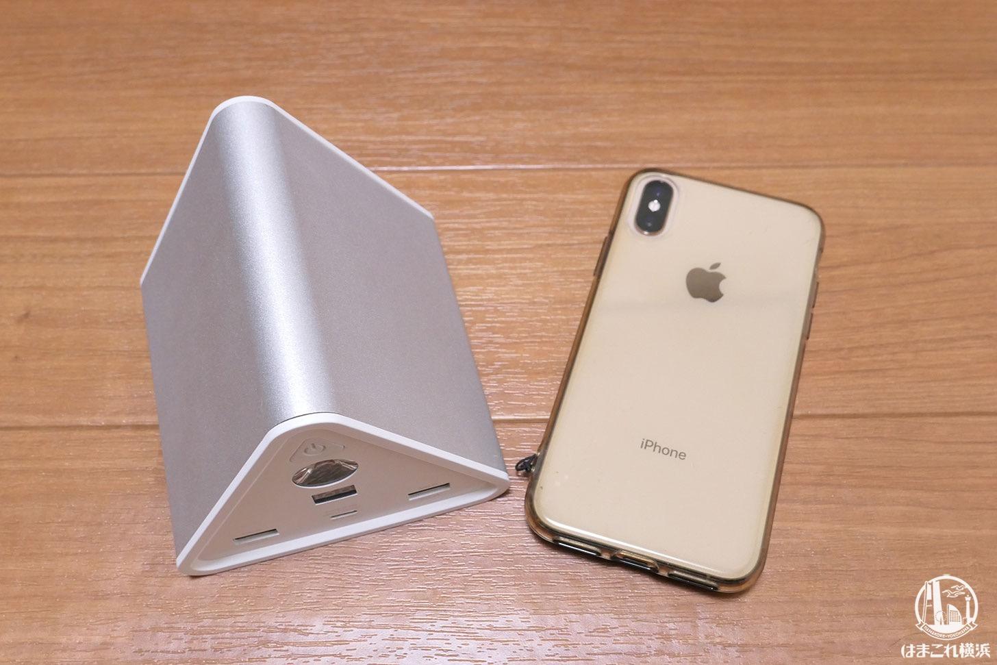 大容量バッテリー「cheero Power Mountain 50000mAh」iPhoneとのサイズ比較