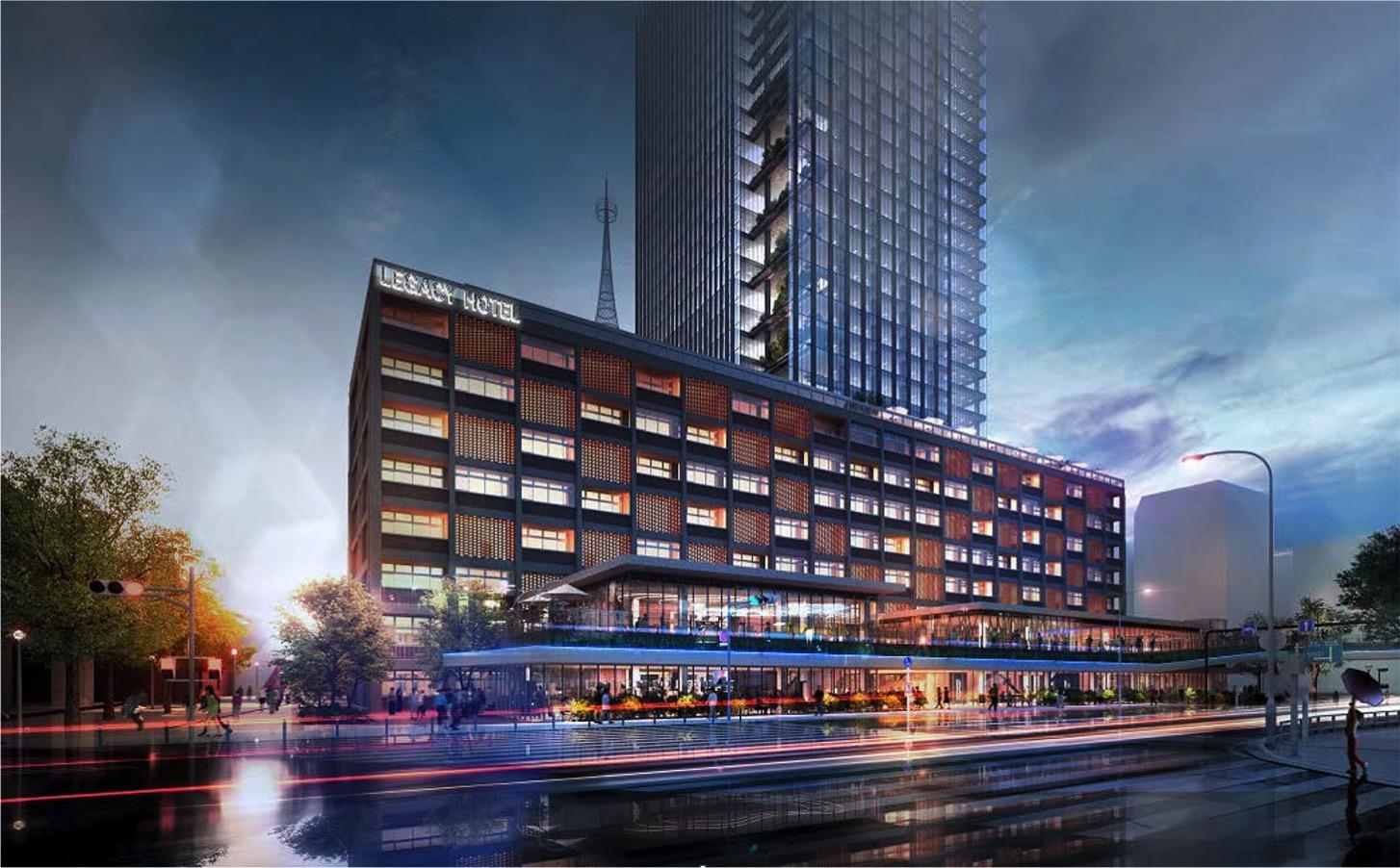 レガシーホテル、2階建ての商業施設「みなとテラス」