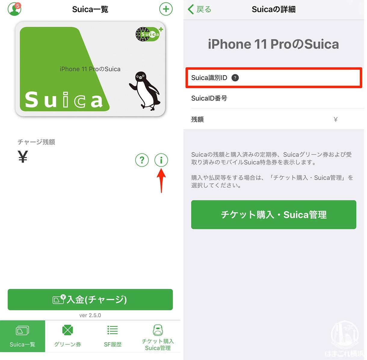 iPhoneモバイルSuica 識別IDの確認方法