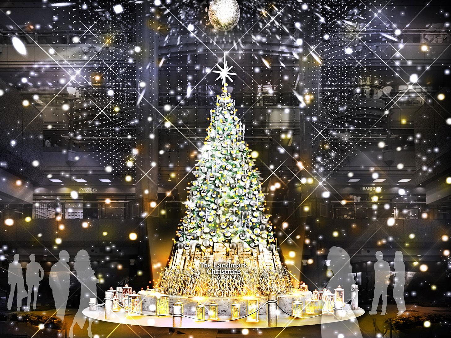 2019年 横浜ランドマークタワーにクリスマスツリー登場!降雪イベントも