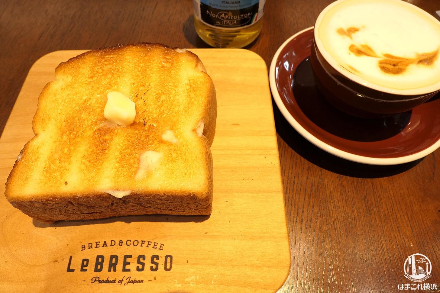 レブレッソ 横浜元町店 厚切りトーストとカフェラテ