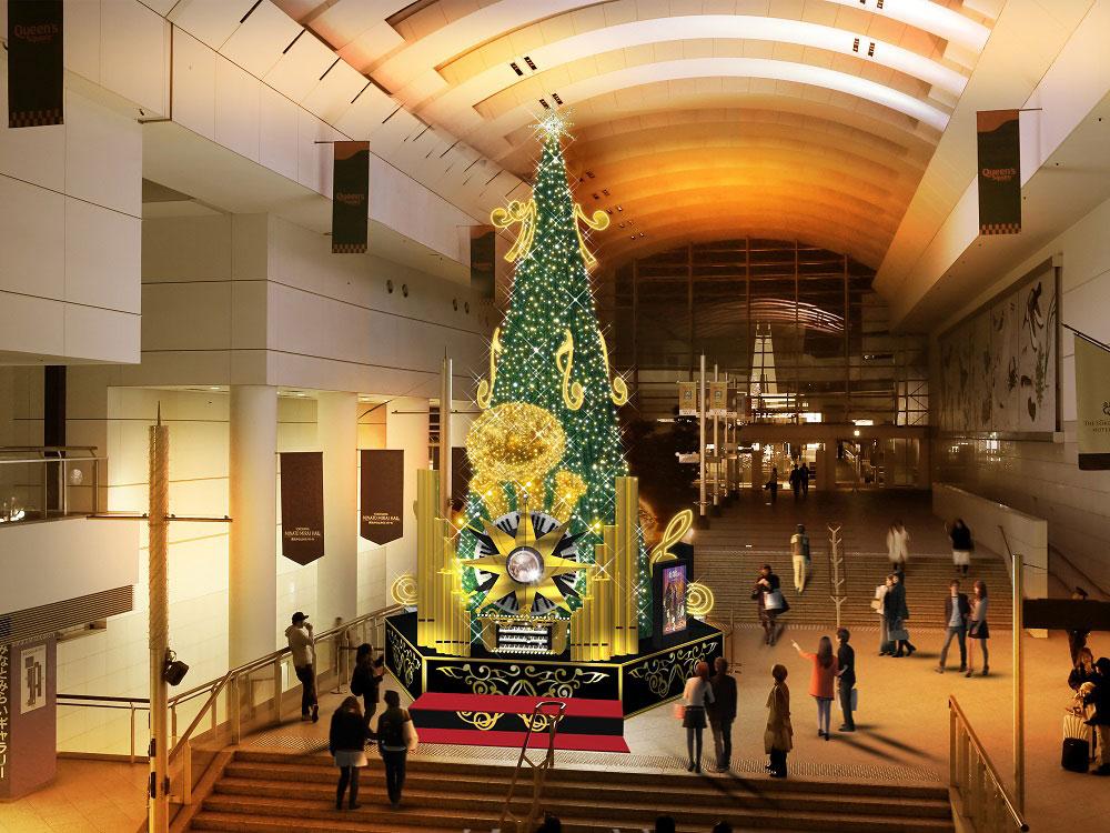 クイーンズスクエア横浜のクリスマスツリー、オルガンの仕掛けで音と光の演出!
