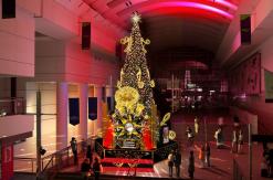 クイーンズスクエア横浜のクリスマスツリー、オルガンの仕掛けで音と光の演出!ショータイムも