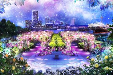 山下公園でイルミネーション「スノーローズガーデンヨコハマ」初開催!光の花咲くバラ園