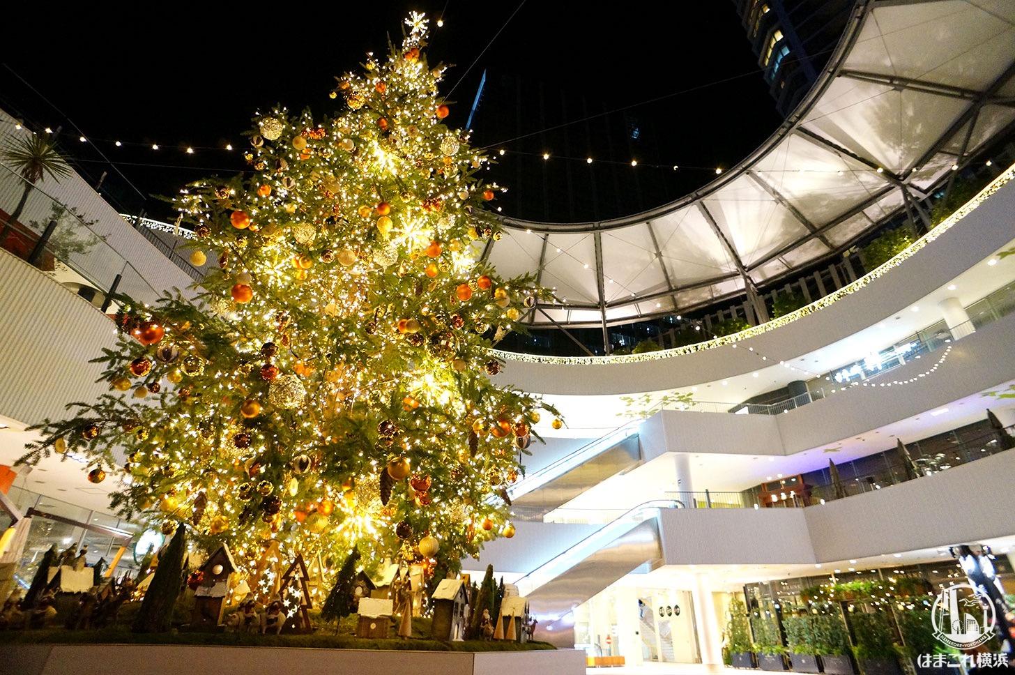 横浜ベイクォーター屋上のクリスマスイルミネーションがお洒落可愛い!クリスマスツリーも