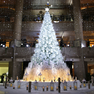 横浜 ランドマークプラザのクリスマスツリー点灯!光と音、降雪演出で幻想的に