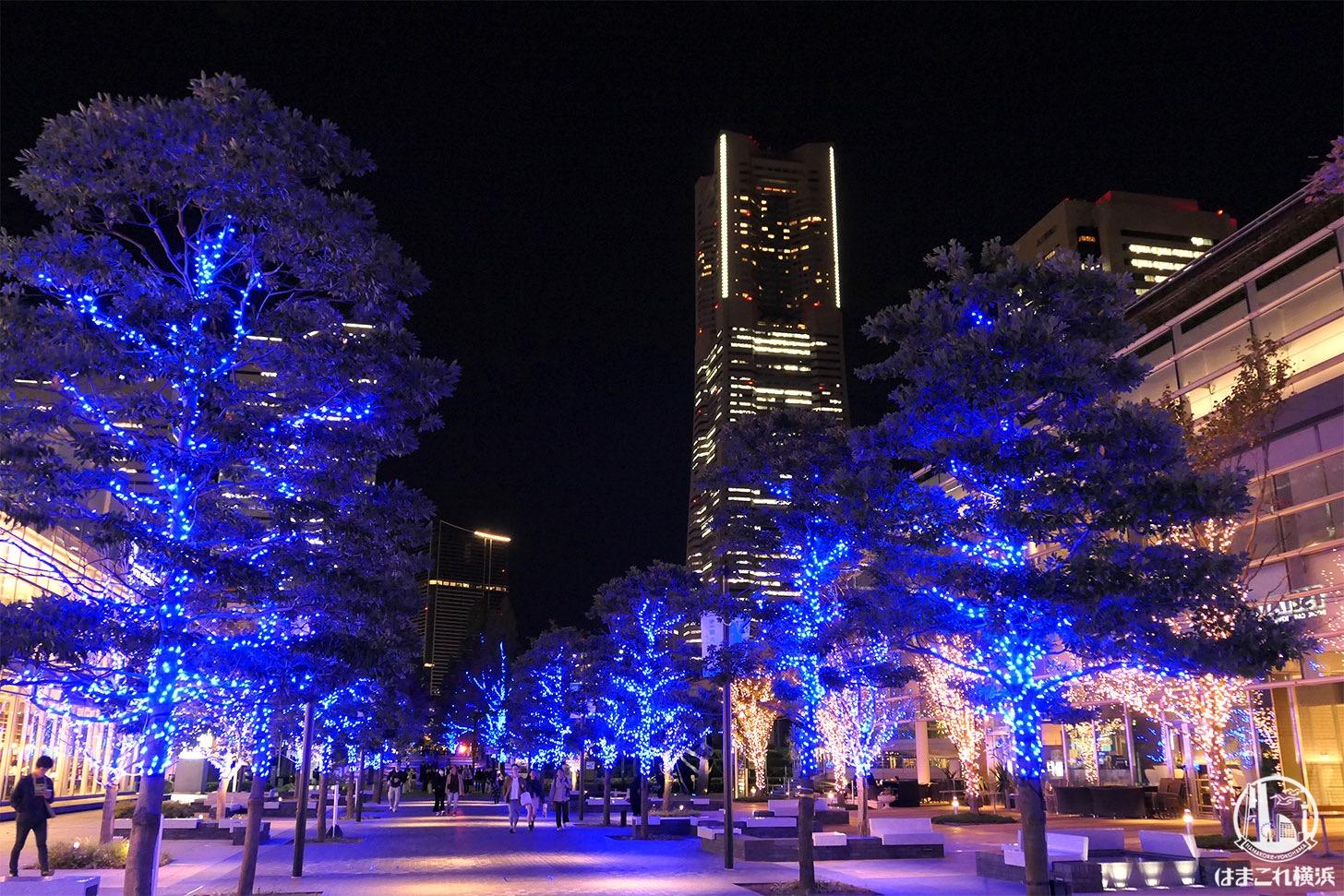ヨコハマミライトと横浜ランドマークタワー夜景