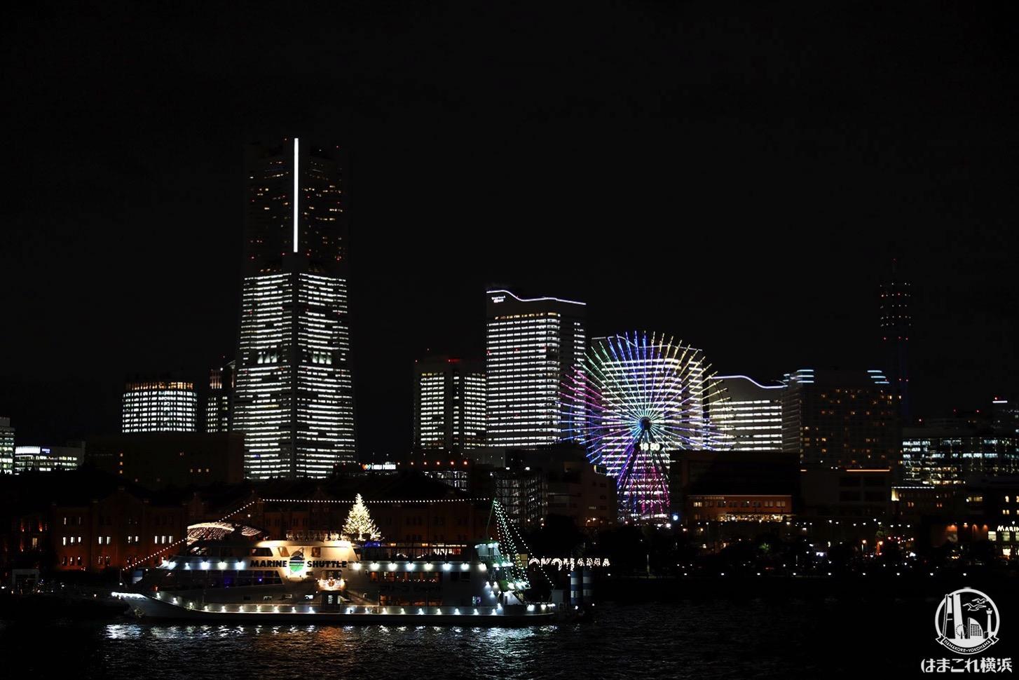 横浜港大さん橋から見た夜景・タワーズミライト