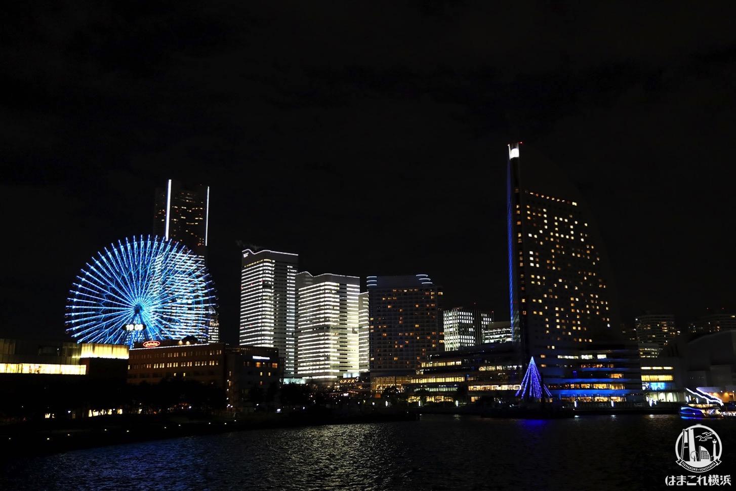横浜ハンマーヘッドから見た夜景・タワーズミライト