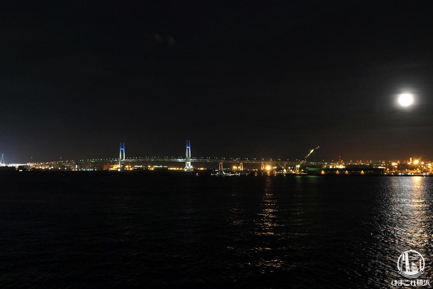 横浜港大さん橋国際客船ターミナル 屋上から見た横浜ベイブリッジ夜景