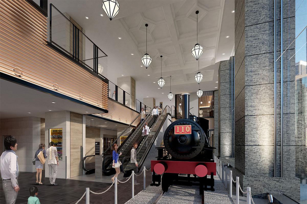 JR桜木町ビル 1階エントランス 110形蒸気機関車