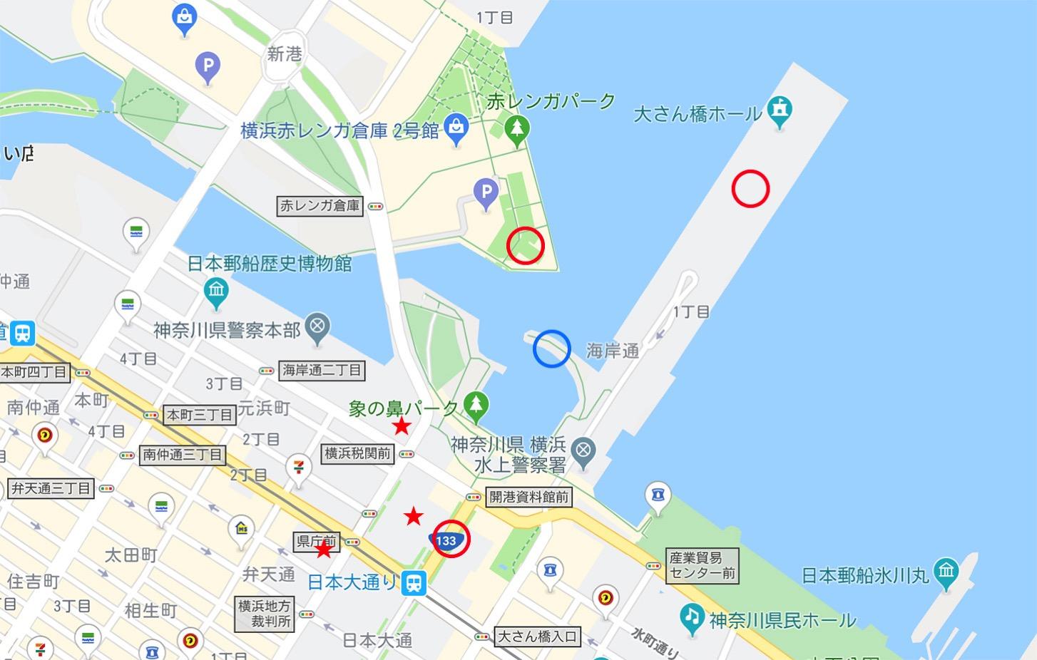 横浜三塔 位置関係とビュースポット