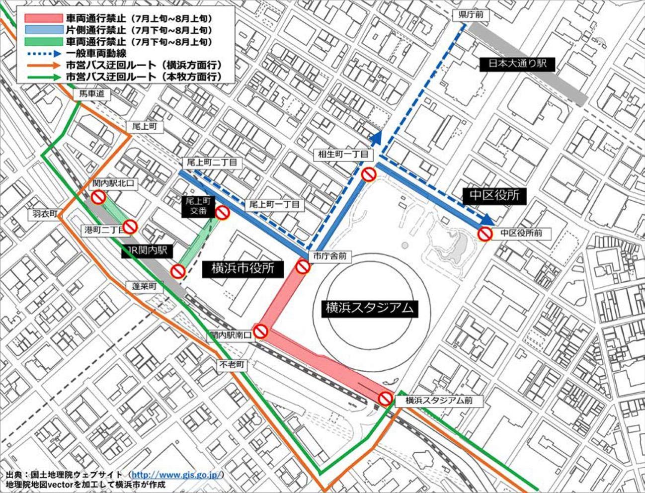 横浜スタジアム周辺の交通規制