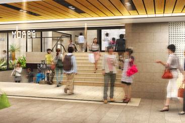 横浜モアーズに待望の地下出入り口誕生、外観LEDライティングにリニューアル!