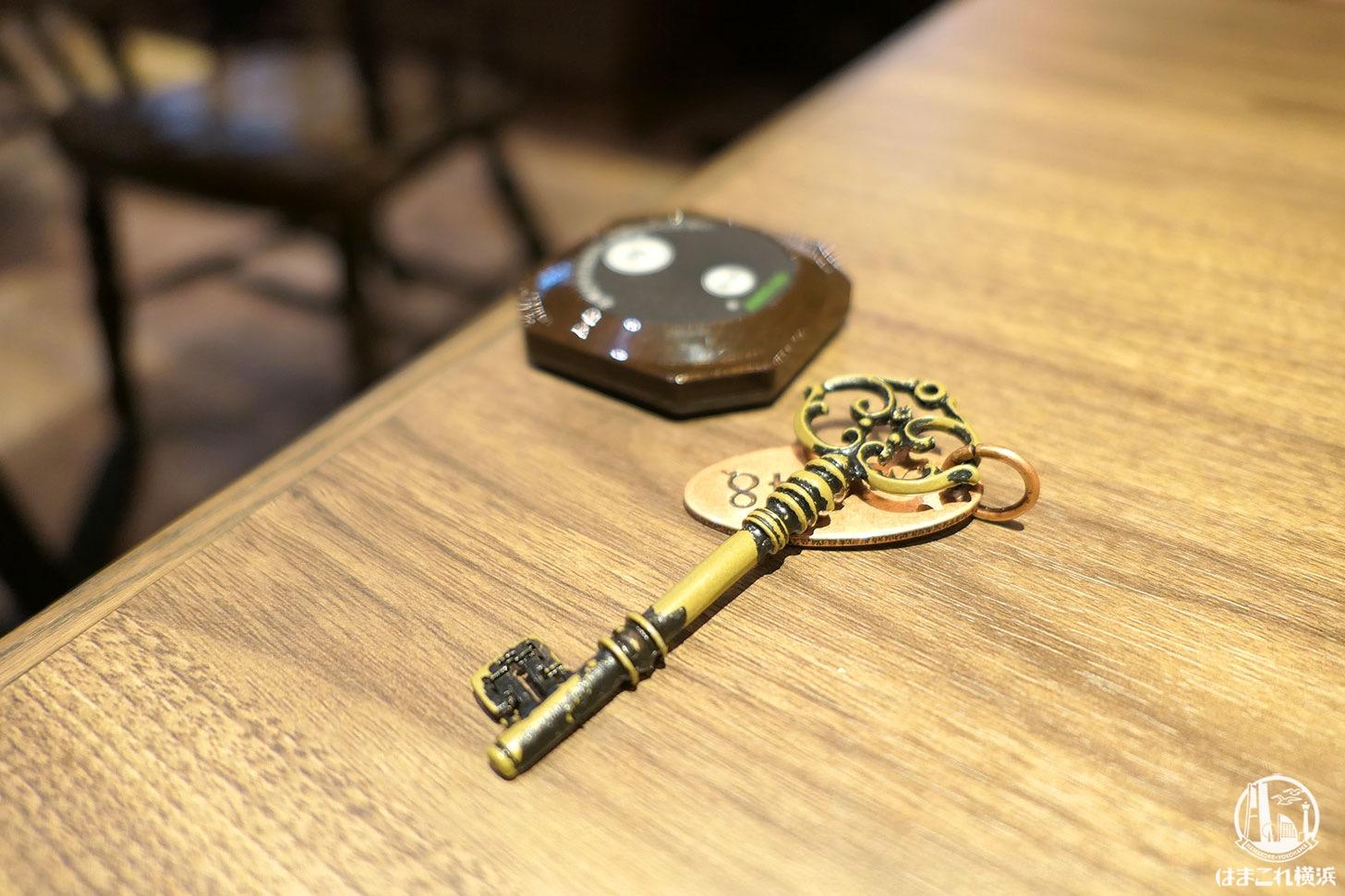 テーブル番号を示した鍵