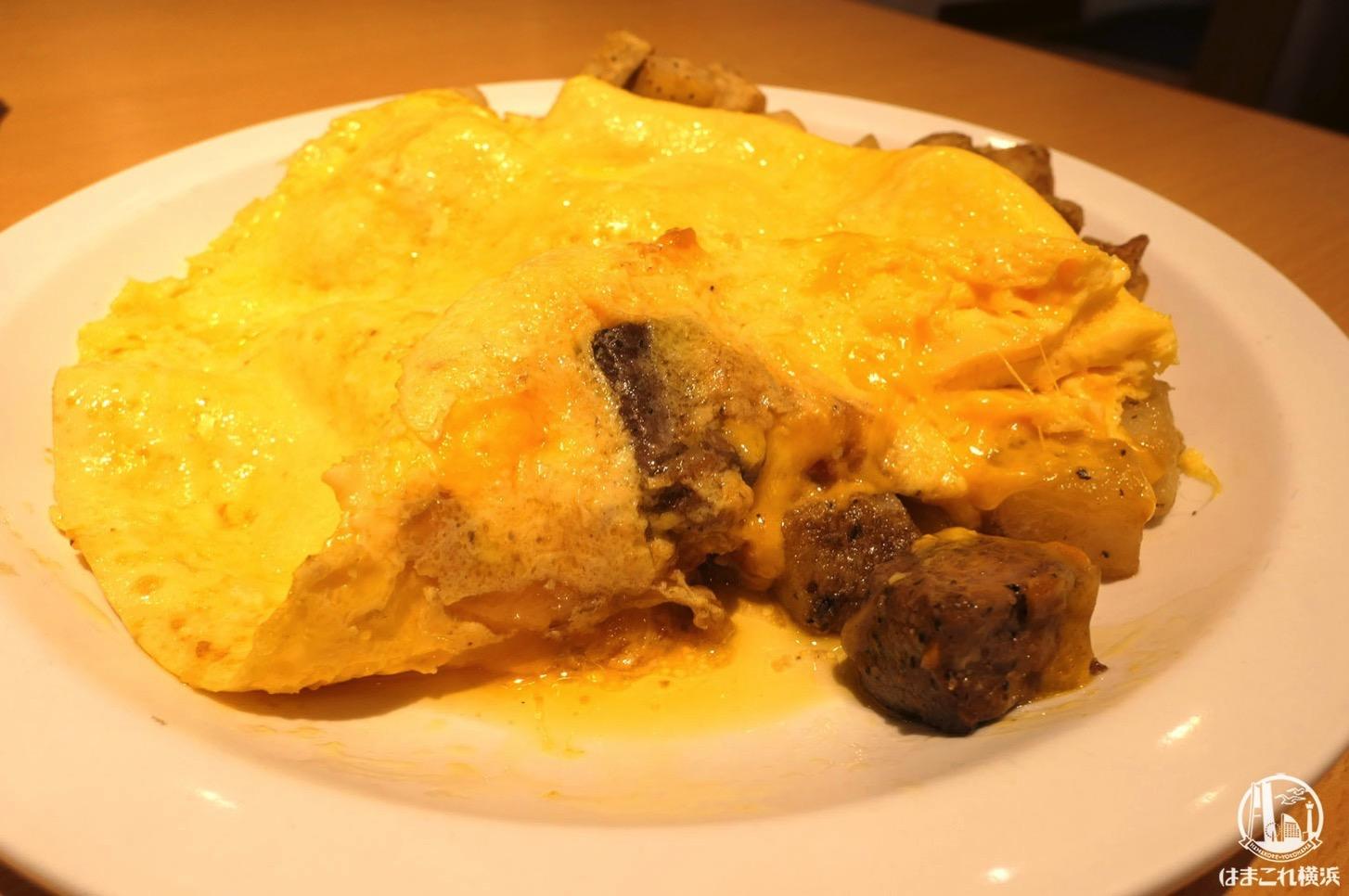 サイコロデミグラスステーキ オムレツ