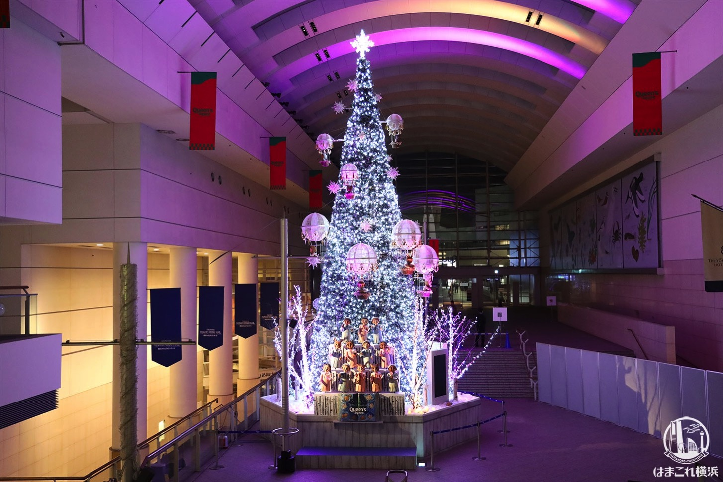 2020年クイーンズスクエア横浜のクリスマスツリー点灯!光と音のショータイムで幻想的に