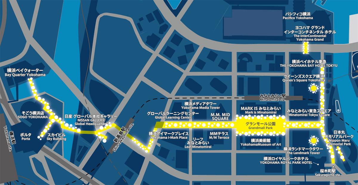 ヨコハマミライト2020 開催場所マップ