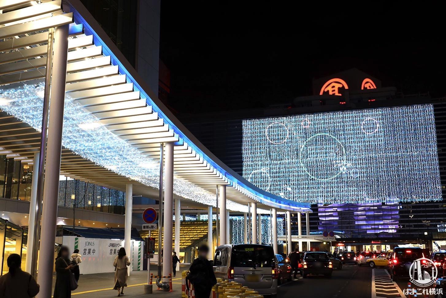 ヨコハマイルミネーション 横浜高島屋と屋根のライトアップ