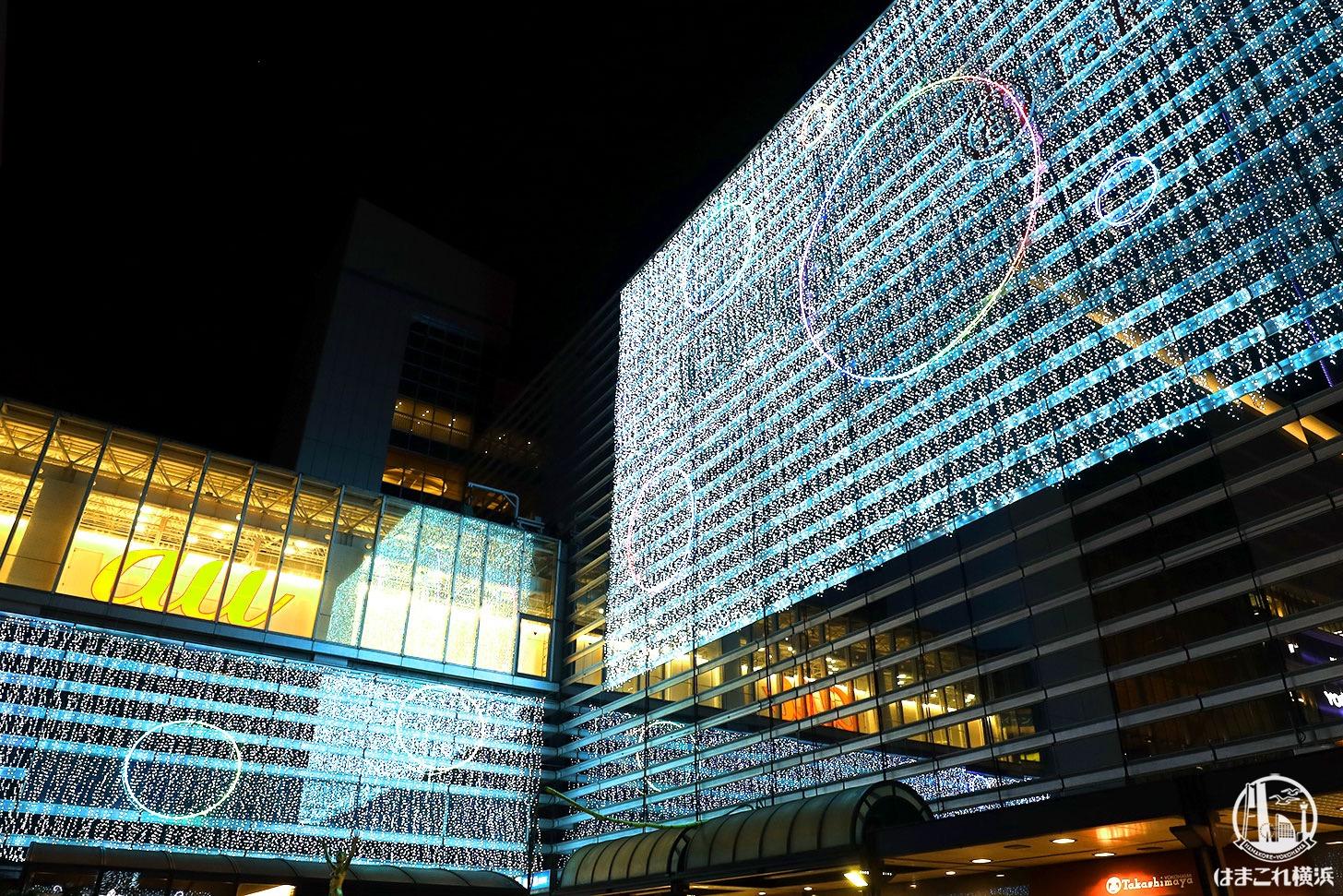 ヨコハマイルミネーション 横浜高島屋・相鉄ジョイナス壁面ライトアップ