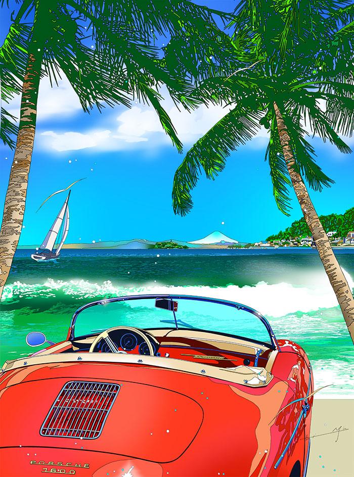 イラストレーター40周年記念作品「浜の休息」