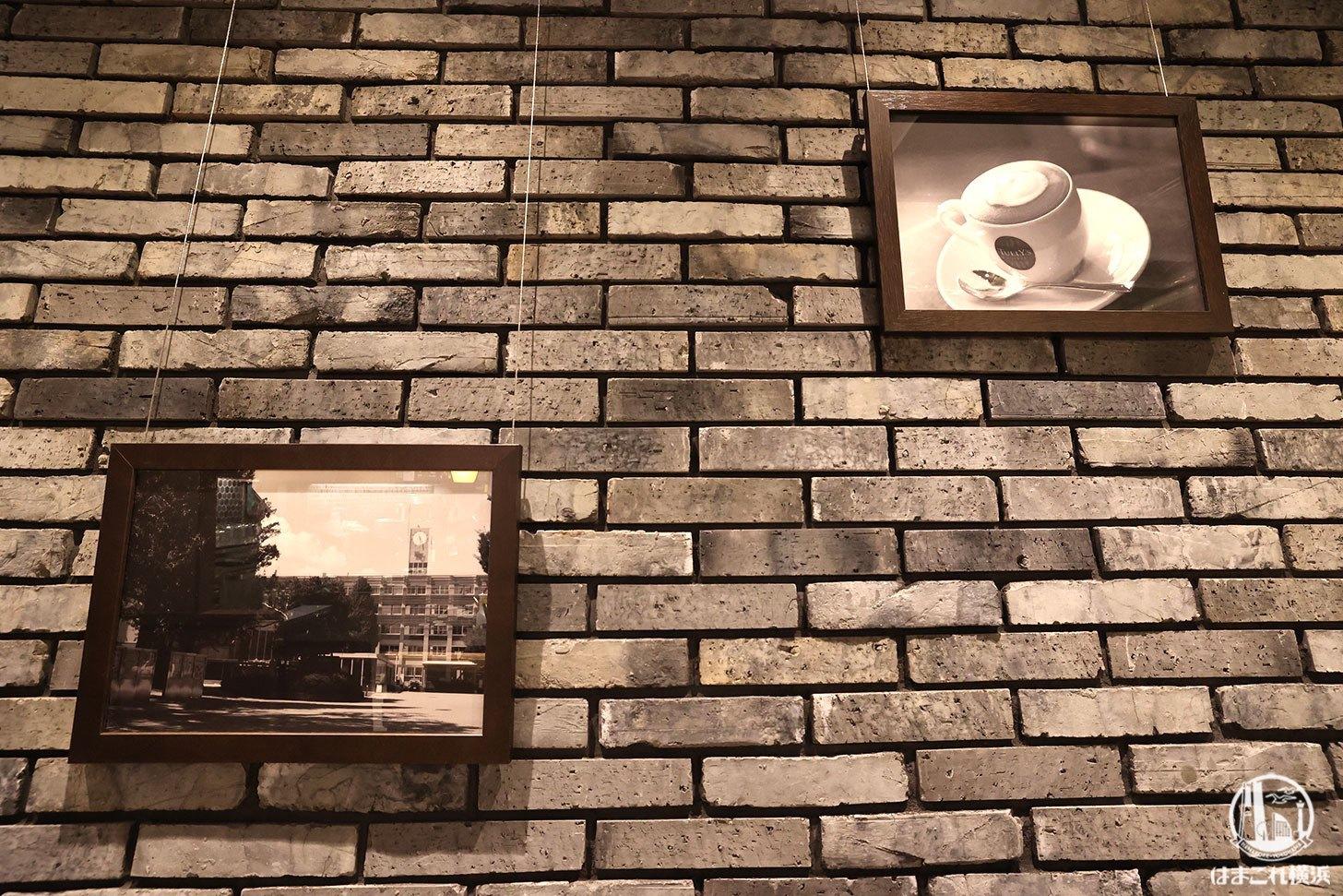 壁面に飾られた「 神奈川大学 横浜キャンパス」の写真