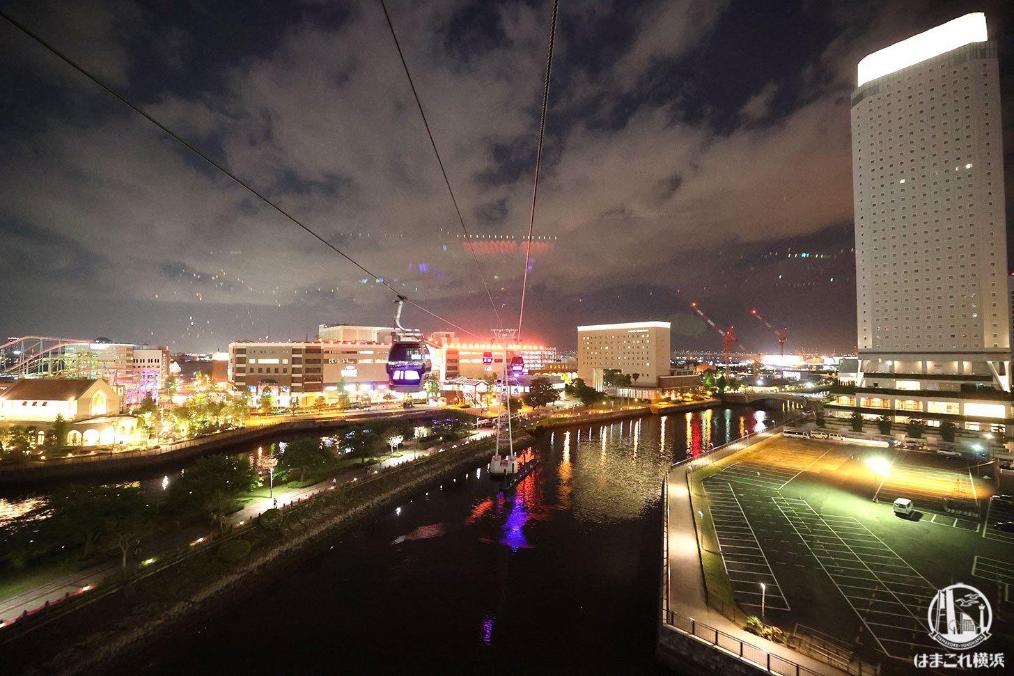 ゴンドラから見た夜景 横浜ワールドポーターズ・横浜赤レンガ倉庫