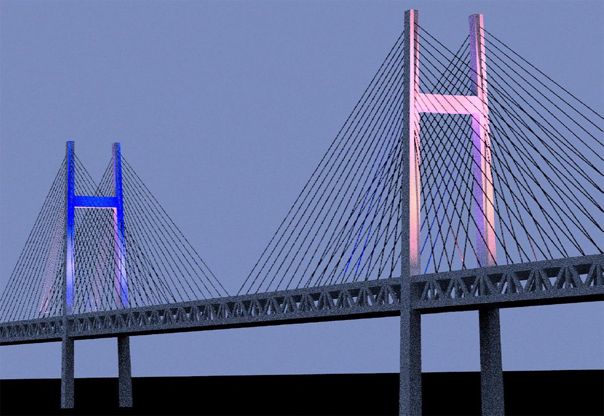 横浜ベイブリッジでブルーとピンクの特別ライトアップ!オリンピック100日前から大会終了まで