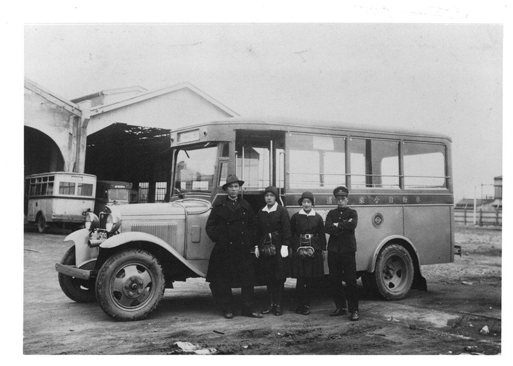 1928年バス開業、撮影は1933年浅間町車庫