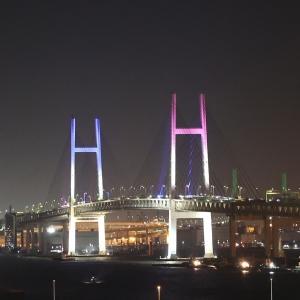 横浜ベイブリッジのオリンピック特別ライトアップ撮ってきた!ブルーとピンクの2カラー
