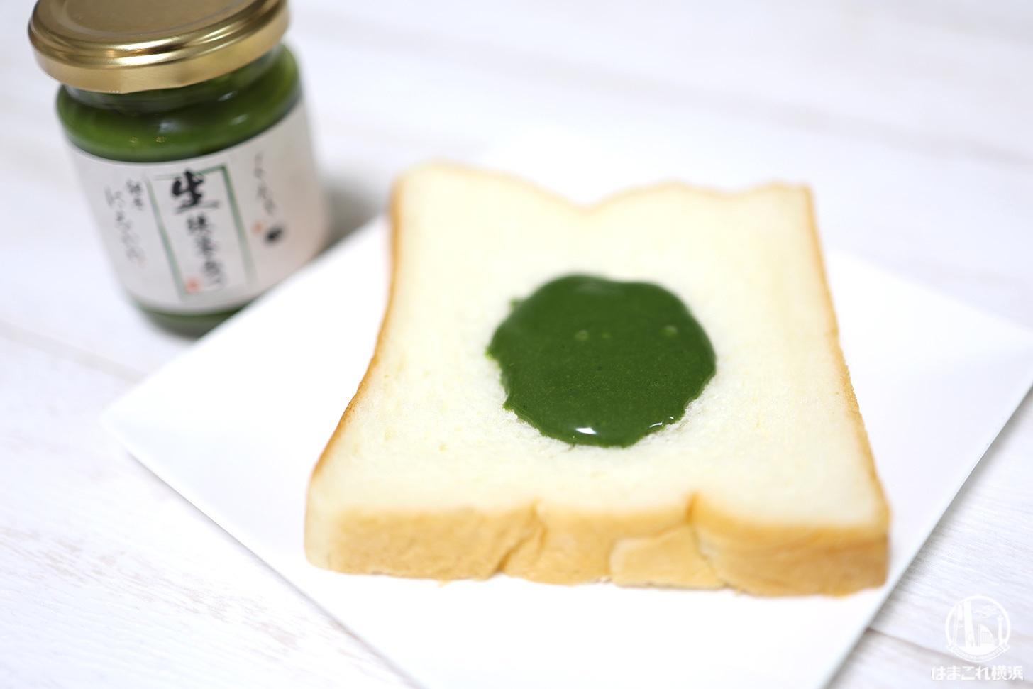 生抹茶みつを塗った高級食パン