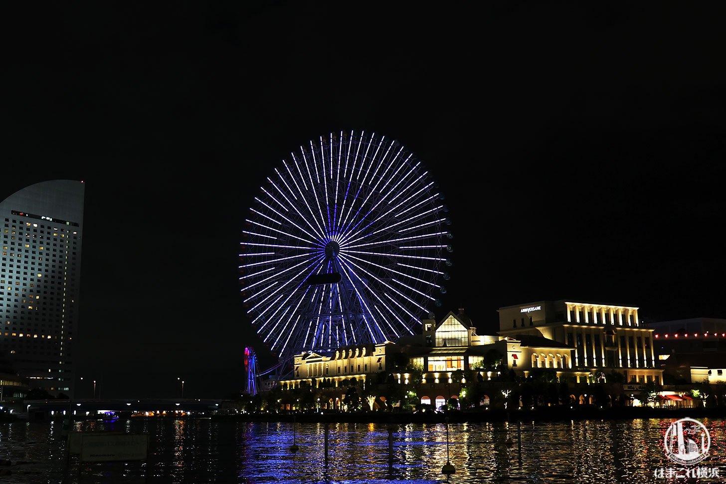 横浜の大観覧車「コスモクロック21」オリンピック特別ライトアップ!動くピクトグラム次々と