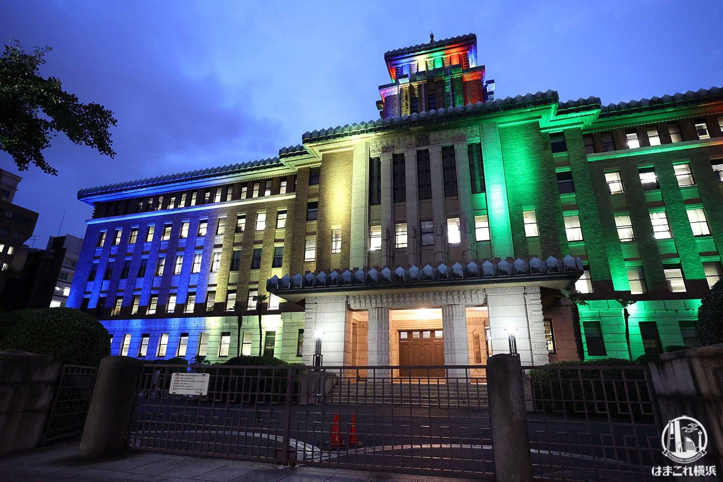 神奈川県庁 東京2020オリンピック仕様のライトアップ 別角度