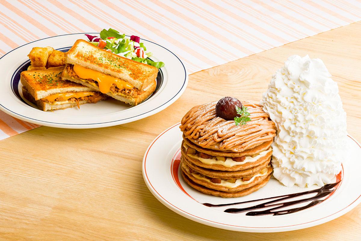エッグスンシングス横浜みなとみらい店で先行販売!モンブランパンケーキとホットサンド