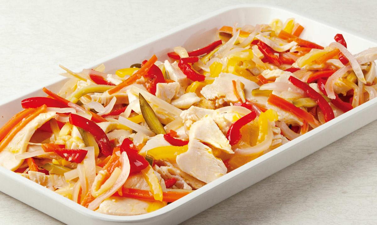 サラダチキンとカラフル野菜のアップルビネガーマリネ