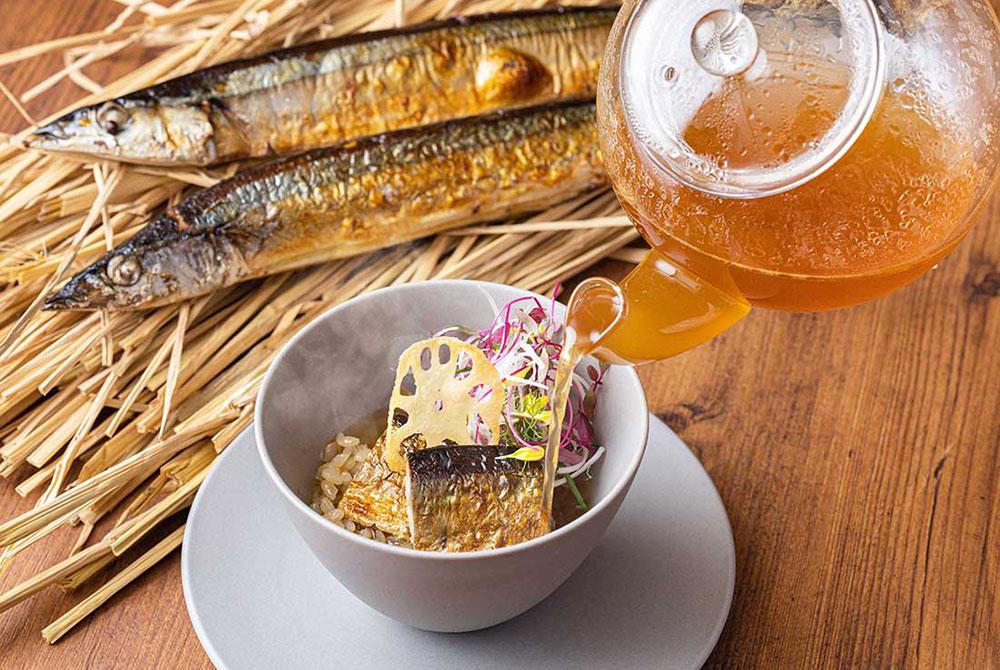 秋の一皿 秋刀魚の洋風茶漬け 生姜風味