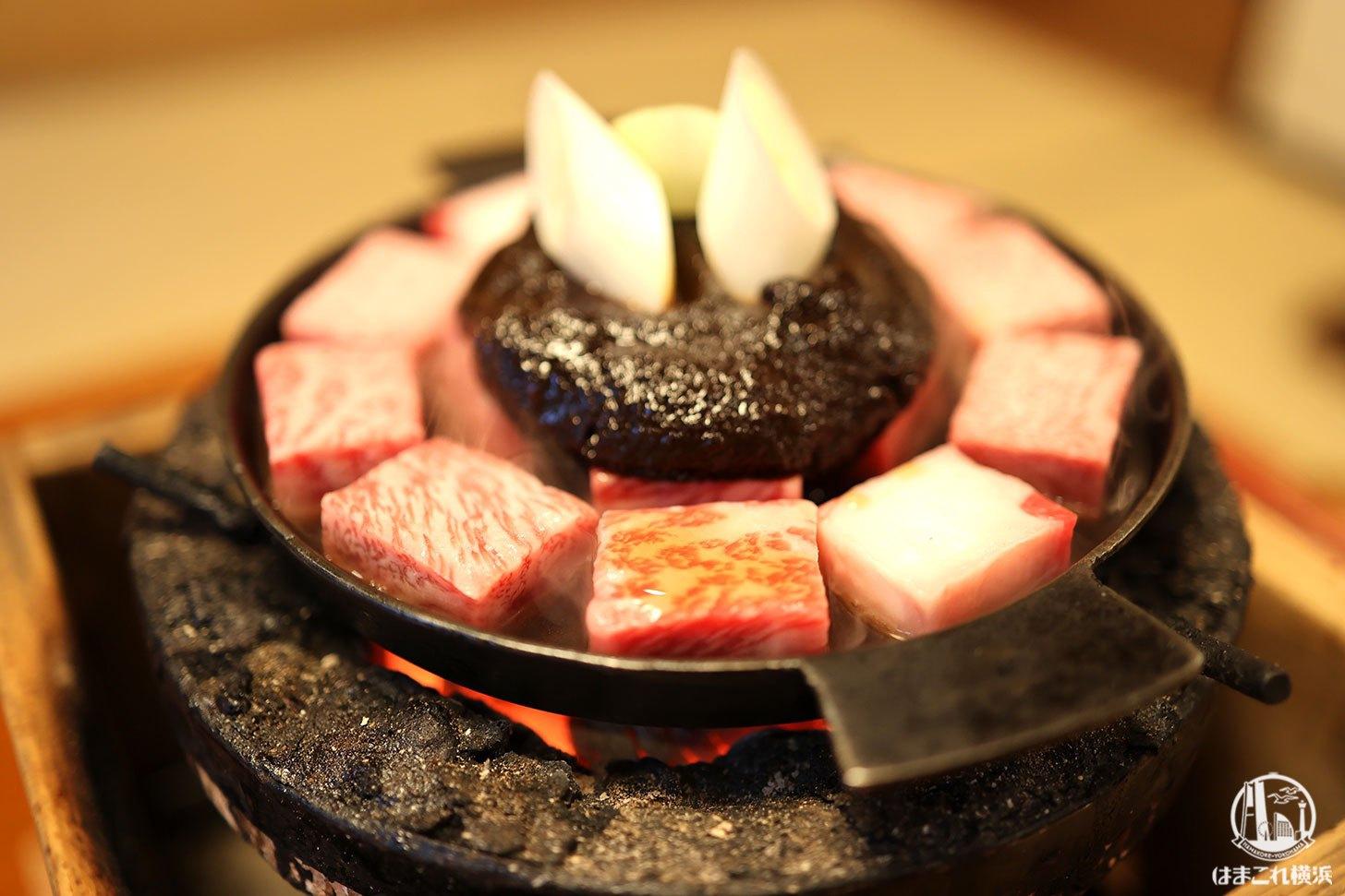 太田なわのれんの牛鍋コースで贅を極める!角切り牛肉を個室で庭を眺めながら堪能