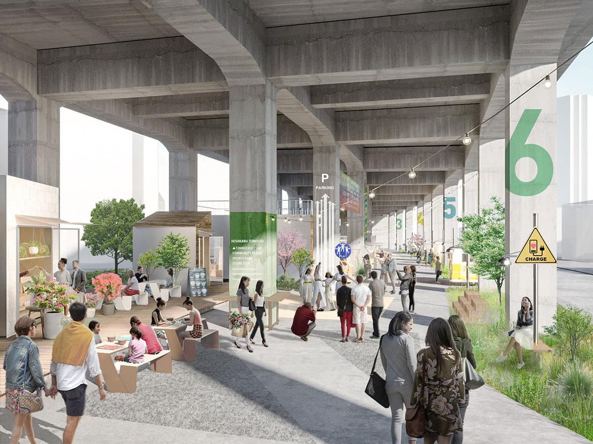 横浜・星川駅~天王町駅間の高架下空間に歩行者空間や広場、商業施設を計画